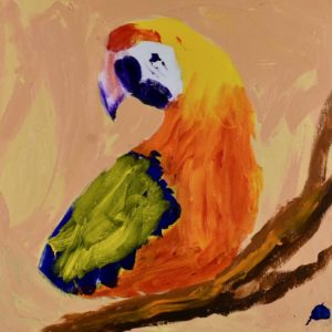 A tropical parrot perched on a branch is twisting to keep his eye on his surroundings with a neutral background. Orange, Blue, Yellow, Neutral. Large Painting by artist Donald Ryker in textured expressionist impressionist art style with unique impasto glaze technique.