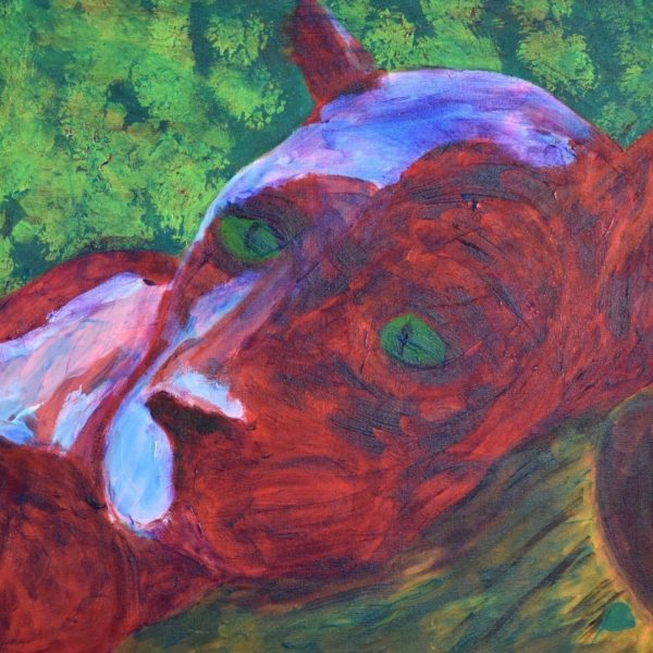 A blood red panther lying on a felled log gazes with desolate eyes into the distance. Forest. Red, Green, Brown, Purple. Large Painting by artist Donald Ryker in textured expressionist impressionist art style with unique impasto glaze technique.
