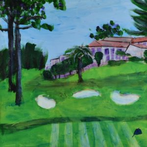 Looking down the fairway towards the clubhouse with sand traps and tall trees. Golf Course. Pink, Green, Blue, Purple. Large Painting by artist Donald Ryker in textured expressionist impressionist art style with unique impasto glaze technique.
