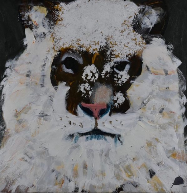 A white tiger is dusted with snow. Mountain. Neutral tones, white, cream, brown. Large Painting by artist Donald Ryker in textured expressionist impressionist art style with unique impasto glaze technique.