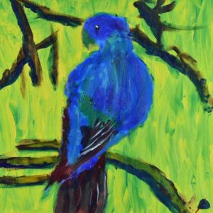 Colorful tropical bird turns his head as he perches in shadows on branch with sunlit yellow-green background. Blue, red, yellow, green. Jungle. Tropical. Large Painting by artist Donald Ryker in textured expressionist impressionist art style with unique impasto glaze technique.