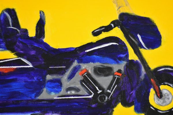 Close-up of a Blue Full Dress Harley Davidson motorcycle on a yellow background. Large Painting by artist Donald Ryker in textured expressionist impressionist art style with unique impasto glaze technique.