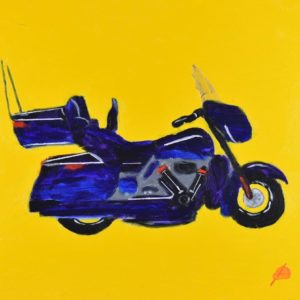 Blue Full Dress Harley Davidson motorcycle on a yellow background. Large Painting by artist Donald Ryker in textured expressionist impressionist art style with unique impasto glaze technique.
