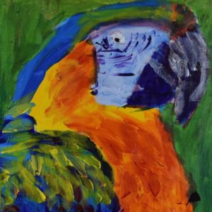 A profile view of a colorful joyful blue orange and yellow parrot with a green background. Jungle. Tropical. Large Painting by artist Donald Ryker in textured expressionist impressionist art style with unique impasto glaze technique.