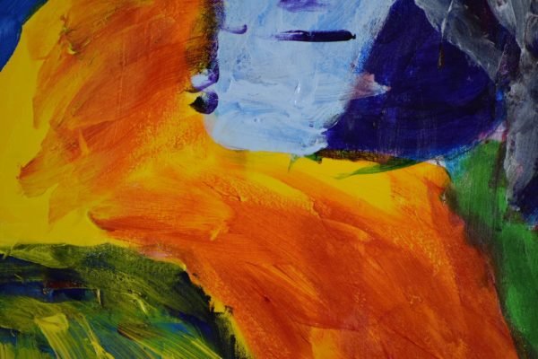 Close-up of A profile view of a colorful joyful blue orange and yellow parrot with a green background. Jungle. Tropical. Large Painting by artist Donald Ryker in textured expressionist impressionist art style with unique impasto glaze technique.