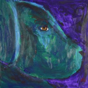 A profile of a young black lab puppy looking seriously disgruntled. Purple, Blue, Teal. Large Painting by artist Donald Ryker in textured expressionist impressionist art style with unique impasto glaze technique.