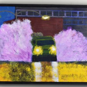 Military vehicle loaded with munitions drives through a city spraying up sheets of water on both sides as the headlights reflect off the wet pavement. Urban. Purple, Gold, Green. Large Painting by artist Donald Ryker in textured expressionist impressionist art style with unique impasto glaze technique.