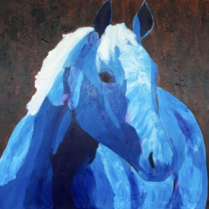 A gentle horse in tints of blue and white with a dark muted background. Western. Large Painting by artist Donald Ryker in textured expressionist impressionist art style with unique impasto glaze technique.