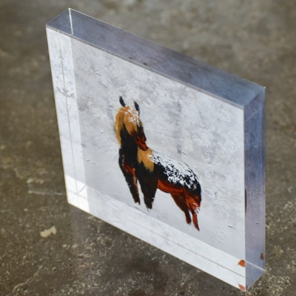 Standing in Snow thick Fine Art Acrylic Block Donald Ryker