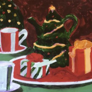 A tea set vignette of the Christmas holidays with packages, Christmas tea pot, and candy cane cups. Red, Green, Gold. Large Painting by artist Donald Ryker in textured expressionist impressionist art style with unique impasto glaze technique.