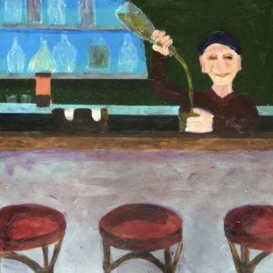 A humorous self portrait picturing the artist pouring drinks behind a bar. Red, green, blue, lavender. Large Painting by artist Donald Ryker in textured expressionist impressionist art style with unique impasto glaze technique.