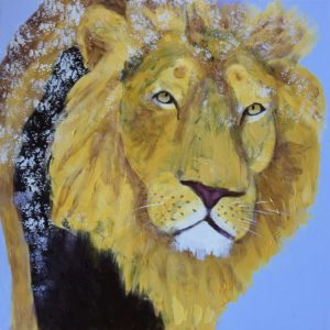 A somber lion with light and dark main prowls through the falling snow. Mountain. Yellow, Purple, Blue. Large Painting by artist Donald Ryker in textured expressionist impressionist art style with unique impasto glaze technique.