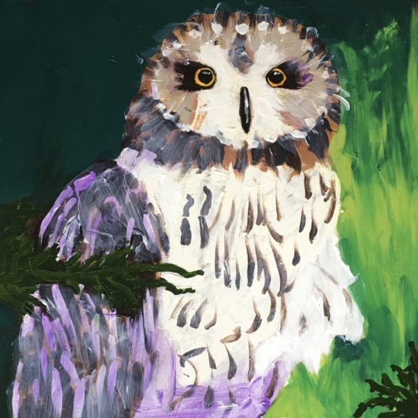 An owl nestled in evergreen branches looks with a startled gaze. Green, White, Purple. Large Painting by artist Donald Ryker in textured expressionist impressionist art style with unique impasto glaze technique.