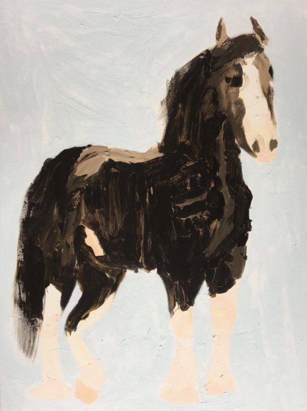 A tall clydesdale horse in brown tones stands against a gray-blue background. Large Painting by artist Donald Ryker in textured expressionist impressionist art style with unique impasto glaze technique.