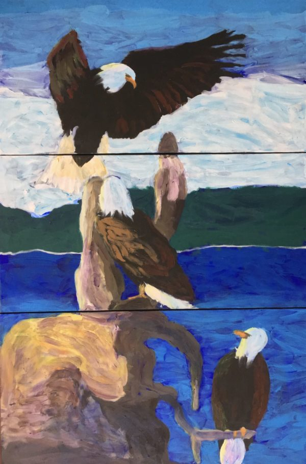 Three eagles on driftwood with ocean, forest, and snow covered mountains in the background. Three panels. Mountain. Blue, green, neutrals. Large Painting by artist Donald Ryker in textured expressionist impressionist art style with unique impasto glaze technique.