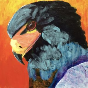 A vividly colored profile of a hawk against a fiery background. Orange, black, teal, purple, yellow. Mountain. Large Painting by artist Donald Ryker in textured expressionist impressionist art style with unique impasto glaze technique.