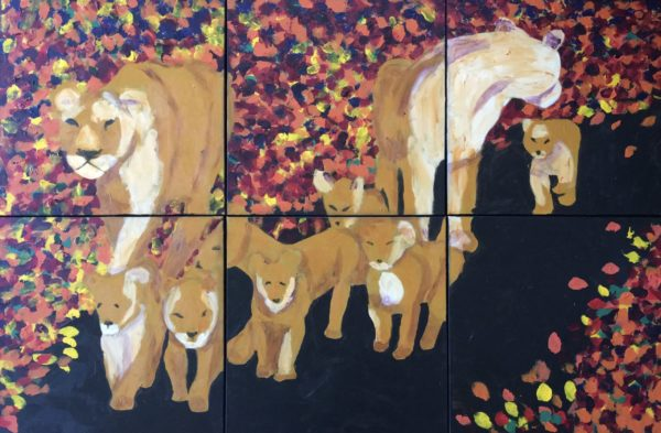 Two mothers and their seven cubs walk down a path surrounded by autumn leaves. Mountain. Ochre, Black, orange, red, yellow. Large Painting by artist Donald Ryker in textured expressionist impressionist art style with unique impasto glaze technique.