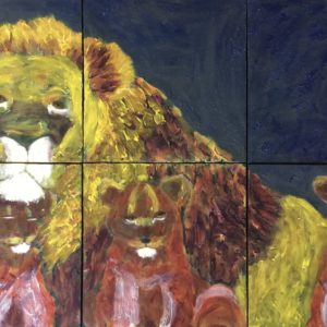 A father and 3 cubs rest together in the shadows. 6 Panels. Mountain. Yellow, Blue, Browns, White. An X-Large Painting by artist Donald Ryker in textured expressionist impressionist art style with unique impasto glaze technique.