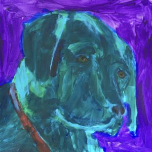 A black lab sunlit form the back, in shades of blue, gazes with a waiting look. Blue, Purple. Large Painting by artist Donald Ryker in textured expressionist impressionist art style with unique impasto glaze technique.