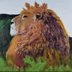 A lion sitting in profile looking into the distance, with green mountains and blue sky in the background. Jungle. Rainbow stained-glass colors. Large Painting by artist Donald Ryker in textured expressionist impressionist art style with unique impasto glaze technique.