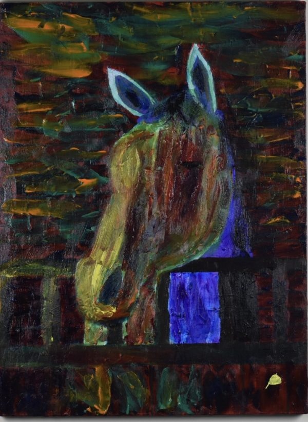 A horse waits in his stall as a beam of sunlight starts the day. Western. Rainbow of stained-glass colors. Large Painting by artist Donald Ryker in textured expressionist impressionist art style with unique impasto glaze technique.