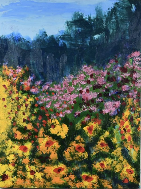 A valley full of golden and fuchsia flowers with a background of forested mountains and blue skies. Yellow, red, pink, hunter green, blue. Large Painting by artist Donald Ryker in textured expressionist impressionist art style with unique impasto glaze technique.