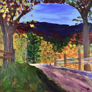 A mountain road bends through fall foliage with mountains and sky in the background. Mountain. Red, yellow, blue, green, purple. Large Painting by artist Donald Ryker in textured expressionist impressionist art style with unique impasto glaze technique.