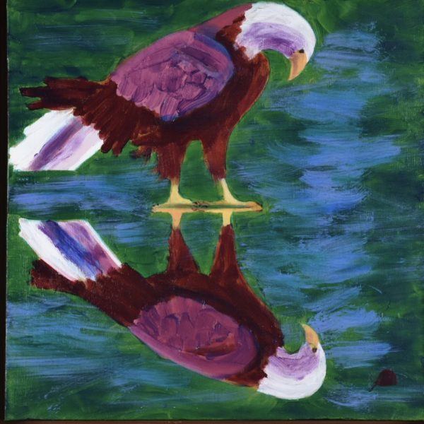 A red-toned bald eagle stands looking at his own reflection in the shallow waters. Mountain. Red, Green, Blue, White. Large Painting by artist Donald Ryker in textured expressionist impressionist art style with unique impasto glaze technique.
