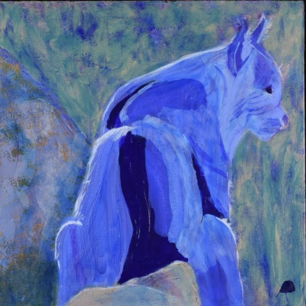 A bobcat in shades of blue looks over a mountain canyon. Mountain. Blue, teal. Large Painting by artist Donald Ryker in textured expressionist impressionist art style with unique impasto glaze technique.