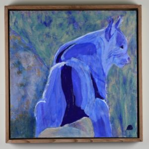 Framed View of A bobcat in shades of blue looks over a mountain canyon. Mountain. Blue, teal. Large Painting by artist Donald Ryker in textured expressionist impressionist art style with unique impasto glaze technique.