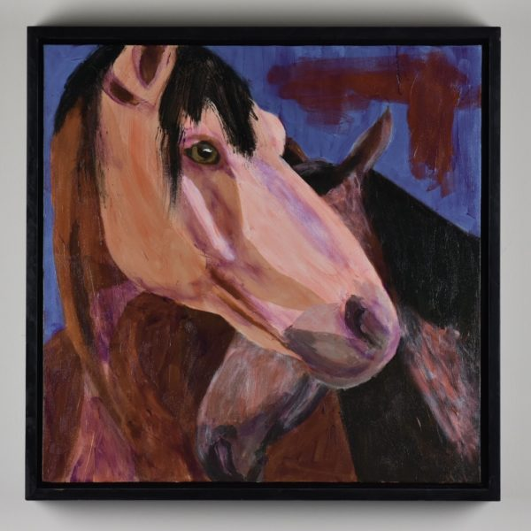Framed view of A horse bending it's head around a smaller horse who is standing close. Shades of brown with a blue background. Western. Orange, Purple, Brown, Black. Large Painting by artist Donald Ryker in textured expressionist impressionist art style with unique impasto glaze technique.