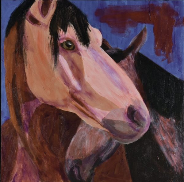 A horse bending it's head around a smaller horse who is standing close. Shades of brown with a blue background. Western. Orange, Purple, Brown, Black. Large Painting by artist Donald Ryker in textured expressionist impressionist art style with unique impasto glaze technique.