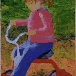 A small child dressed in pink and blue pedals a red tricycle down a pathway. Pink, Blue, Green, Orange. Large Painting by artist Donald Ryker in textured expressionist impressionist art style with unique impasto glaze technique.