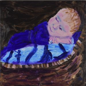 A newborn baby rests on a blue blanket in a rustic brown wicker basket with a dark brown background. Brown, Purple, Blue, beige. Large Painting by artist Donald Ryker in textured expressionist impressionist art style with unique impasto glaze technique.