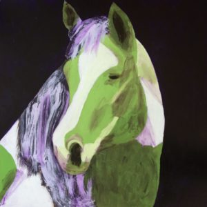 A stately horse looks back over his shoulder. Painted in green, white, and purple. Large Painting by artist Donald Ryker in textured expressionist impressionist art style with unique impasto glaze technique.