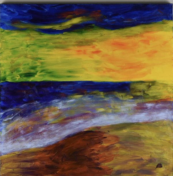 A Glowing gold shoreline and sunset with deep blue ocean and sky. Yellow, Blue. Large Painting by artist Donald Ryker in textured expressionist impressionist art style with unique impasto glaze technique.
