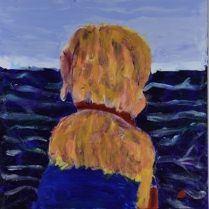 A golden service dog is seen from behind looking out over the ocean. Orange, blue, purple, red. Large Painting by artist Donald Ryker in textured expressionist impressionist art style with unique impasto glaze technique.