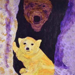 A golden bear sits in the sun outside a cave with his mother in the shadows watching protectively. Mountain. Yellow, purple. Large Painting by artist Donald Ryker in textured expressionist impressionist art style with unique impasto glaze technique.