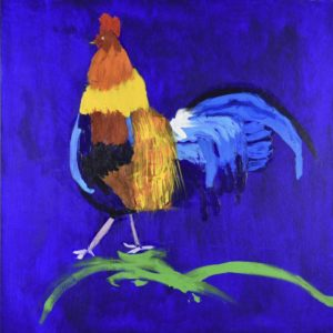 A brightly colored rooster steps on abstract green grass with a vibrant blue background. Blue, Yellow, Red, Orange. Large Painting by artist Donald Ryker in textured expressionist impressionist art style with unique impasto glaze technique.