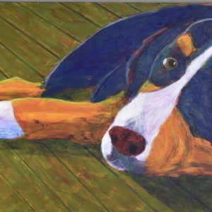 A Bernese Mountain Dog, painted in Navy, Orange, and white, glances up from where he rests on an olive green deck. Large Painting by artist Donald Ryker in textured expressionist impressionist art style with unique impasto glaze technique.