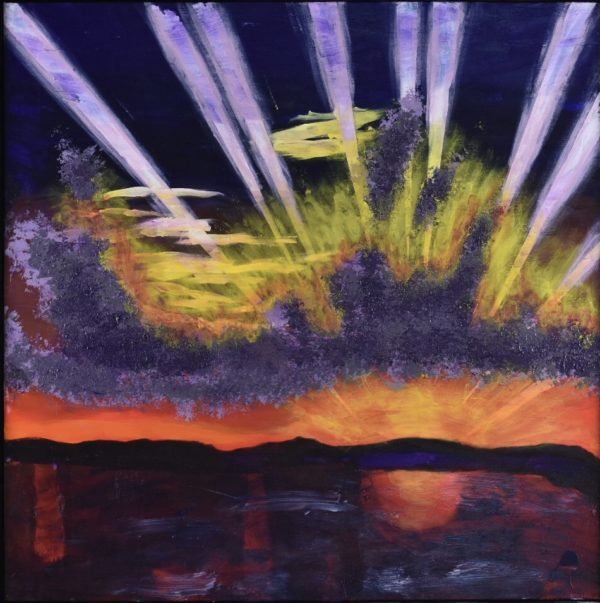A rising sun creates streaks of sunlight through purple clouds and sky as the rising sun reflects across the water. Purple, Orange, Yellow, White. Large Painting by artist Donald Ryker in textured expressionist impressionist art style with unique impasto glaze technique.