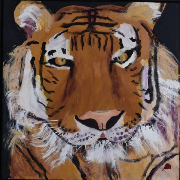 A golden and black striped tiger gazes alertly as he lies resting. Brown, Black, White. Large Painting by artist Donald Ryker in textured expressionist impressionist art style with unique impasto glaze technique.