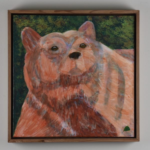 Framed View of An alaskan bear with massive shoulders and neck walks on the shoreline. Mountain. Orange, Green. Large Painting by artist Donald Ryker in textured expressionist impressionist art style with unique impasto glaze technique.