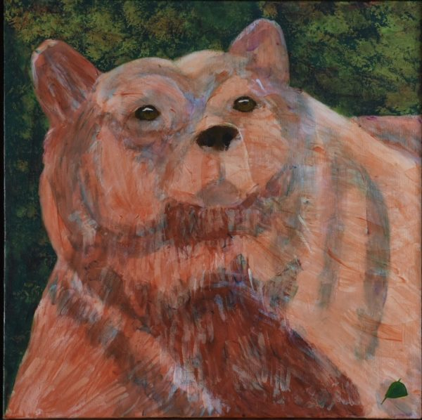 An alaskan bear with massive shoulders and neck walks on the shoreline. Mountain. Orange, Green. Large Painting by artist Donald Ryker in textured expressionist impressionist art style with unique impasto glaze technique.