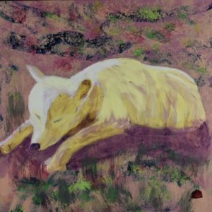 A sleeping arctic wolf rests on the barren tundra. Mountain. Rose, Pink, Purple, Yellow, Green. Large Painting by artist Donald Ryker in textured expressionist impressionist art style with unique impasto glaze technique.