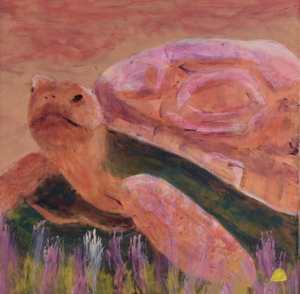 A Terra Cotta and Rose colored Tortoise paces through the desert sand. Desert. Peach, Pink, Orange, Yellow. Large Painting by artist Donald Ryker in textured expressionist impressionist art style with unique impasto glaze technique.