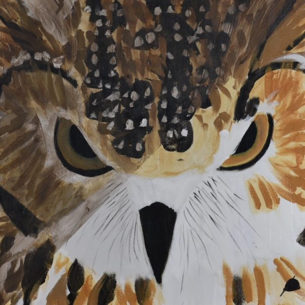 The stern face of an owl half in light and half in shadow painted in neutral shades. Brown, Black, White, Neutral. Large Painting by artist Donald Ryker in textured expressionist impressionist art style with unique impasto glaze technique.