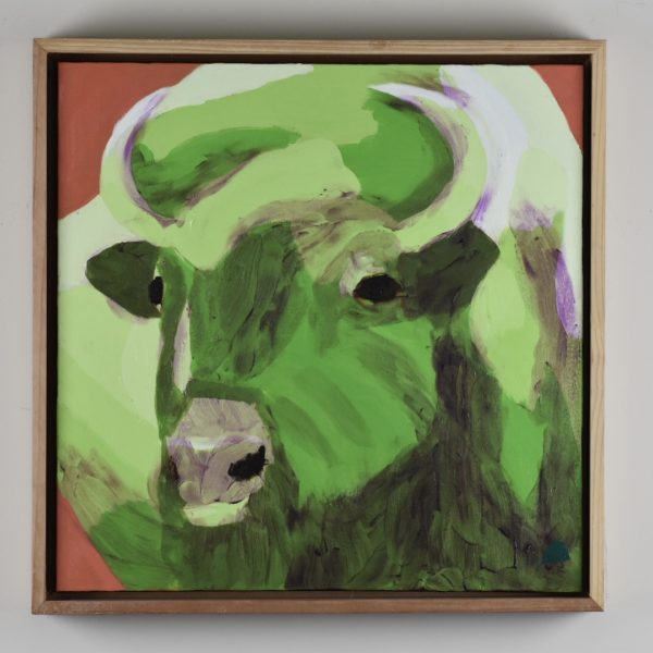 Framed view of A green buffalo with curved horns lifts his head alertly. Terra cotta background. Large Painting by artist Donald Ryker in textured expressionist impressionist art style with unique impasto glaze technique.