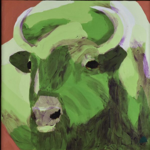A green buffalo with curved horns lifts his head alertly. Terra cotta background. Large Painting by artist Donald Ryker in textured expressionist impressionist art style with unique impasto glaze technique.