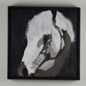 Framed view - Light falls gently on the profile of a beautiful white horse in shadow. Taupe and white. Large Painting by artist Donald Ryker in textured expressionist impressionist art style with unique impasto glaze technique.